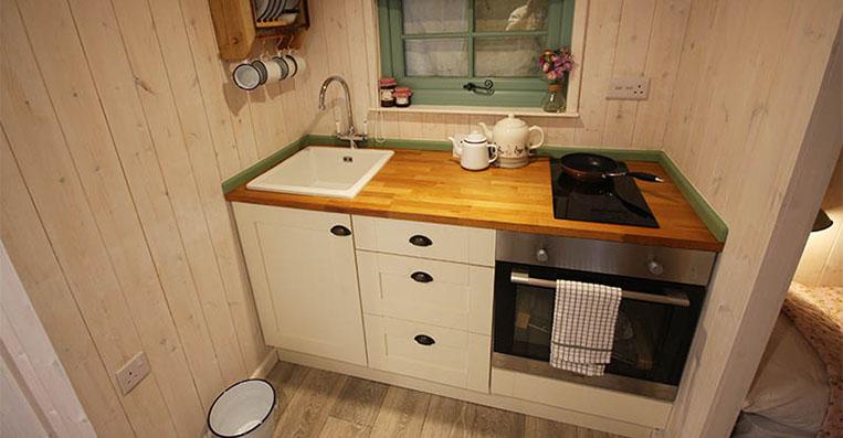 Shepherd Hut Kitchen, Self Catering